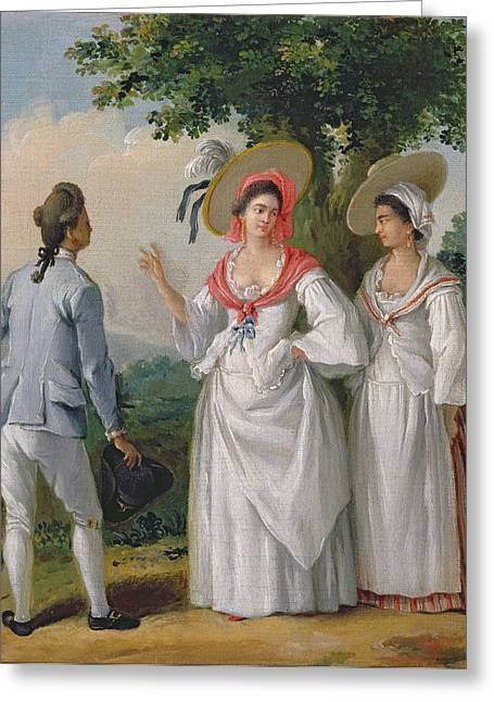 Slaves Greeting Cards - Free West Indian Creoles In Elegant Dress, C.1780 Oil On Canvas Greeting Card by Agostino Brunias