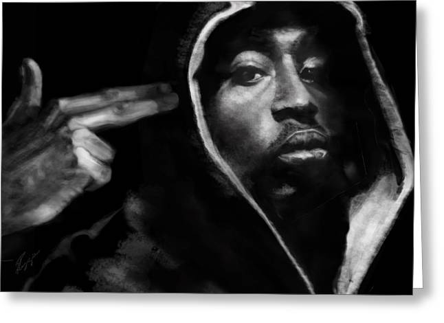 African-american Paintings Greeting Cards - Free Will - 2 PAC Greeting Card by Reggie Duffie