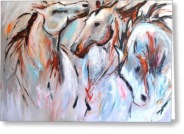 Wild Horses Mixed Media Greeting Cards - Freedom Greeting Card by Cher Devereaux