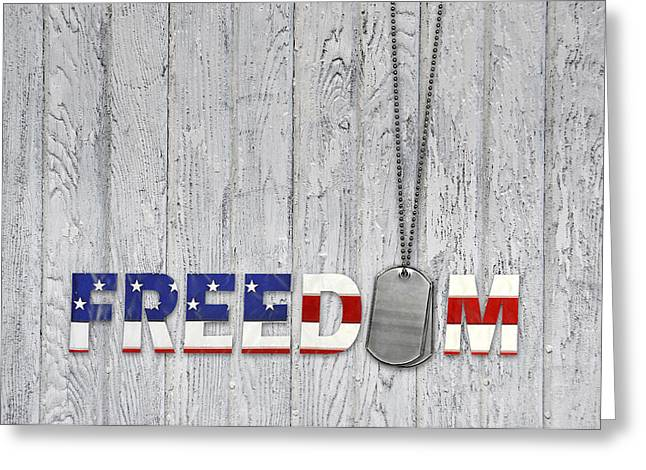 4th July Mixed Media Greeting Cards - Freedom Dog Tags Greeting Card by Maria Dryfhout