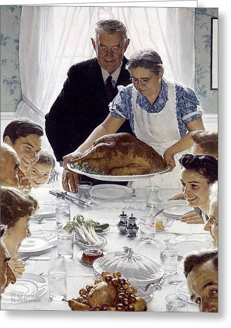 Norman Drawings Greeting Cards - Freedom From Want by Norman Rockwell Greeting Card by Nomad Art And  Design