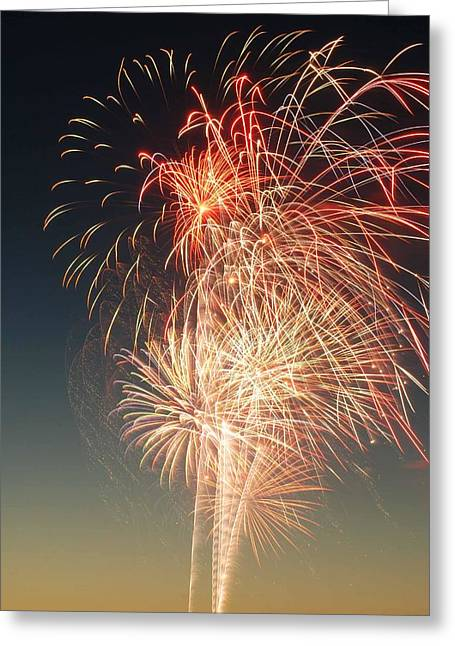 Pyrotechnics Digital Art Greeting Cards - Freedom in colored explosions Greeting Card by Optical Playground By MP Ray