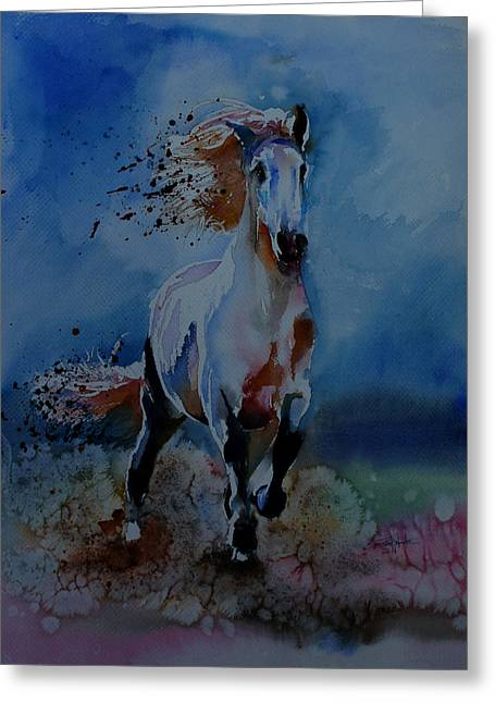 Race Horse Greeting Cards - Freedom Greeting Card by Isabel Salvador