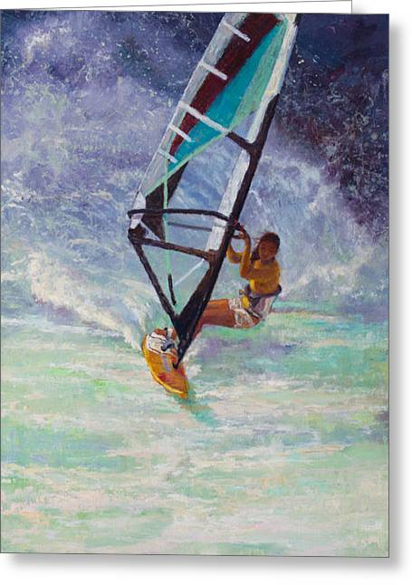 Kite Surfing Paintings Greeting Cards - Freedom Greeting Card by Jeanne Young