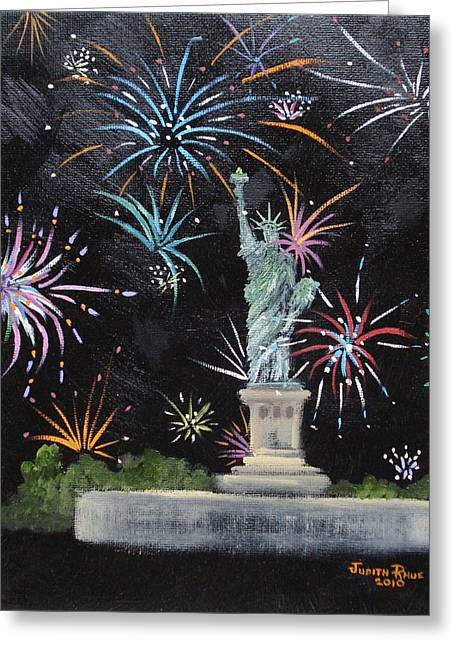 Staten Island Ferry In New York Greeting Cards - Freedom Greeting Card by Judith Rhue
