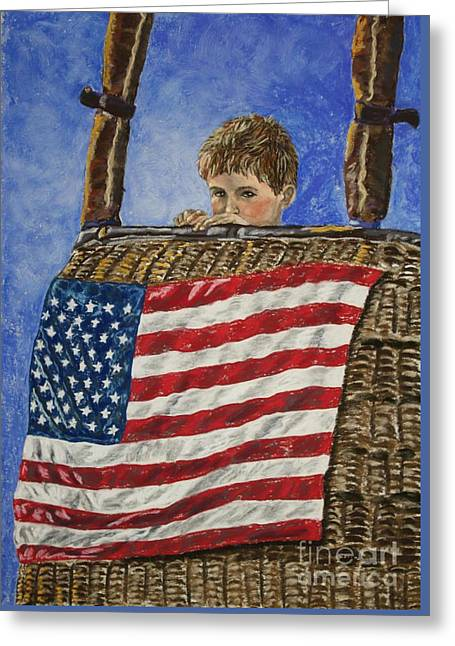 Usa Flag Pastels Greeting Cards - Freedom Greeting Card by Linda Eversole