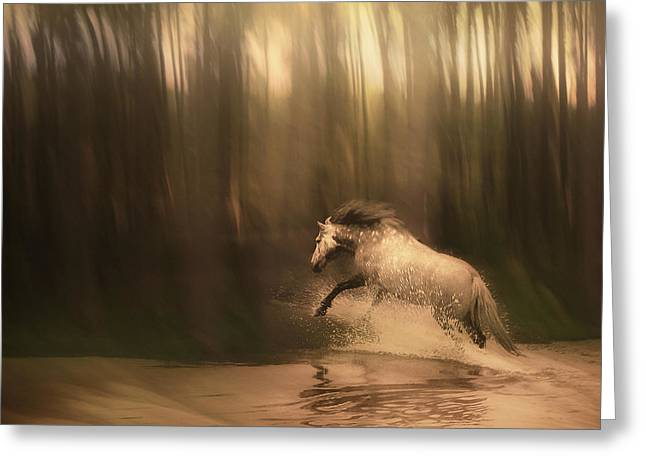 Running Digital Art Greeting Cards - Freedom of the Forest Greeting Card by Jennifer Woodward