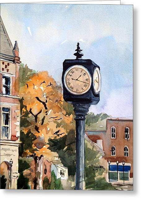 Freedom Park Paintings Greeting Cards - Freedom Park Clock Greeting Card by Spencer Meagher