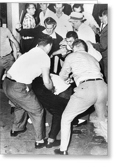 Civil Rights Activists Greeting Cards - Freedom Rider Beaten Greeting Card by Underwood Archives
