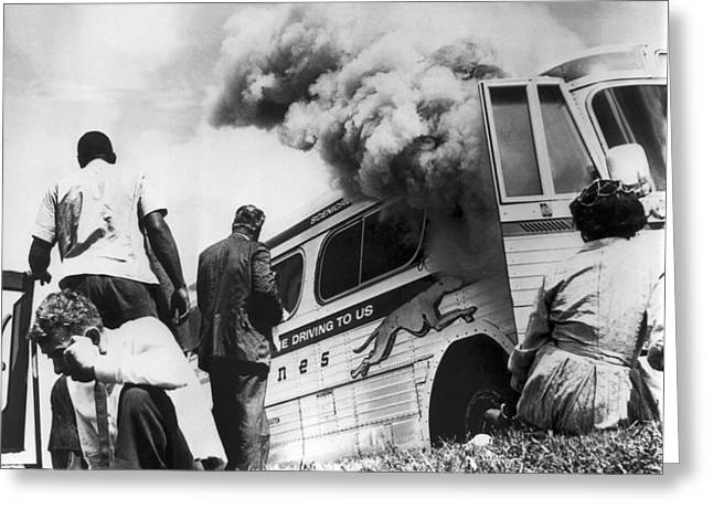 Freedom Riders Bus Burned Greeting Card by Underwood Archives