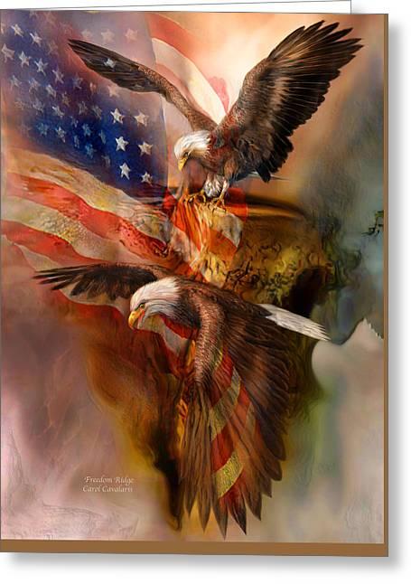 Freedom Ridge Greeting Card by Carol Cavalaris