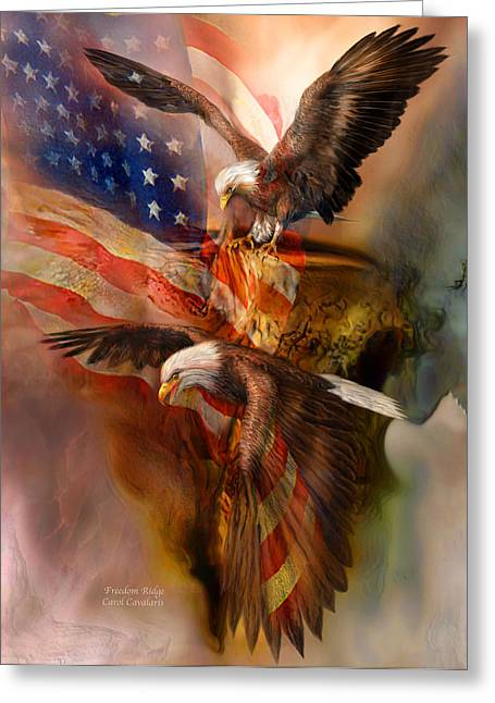 .freedom Mixed Media Greeting Cards - Freedom Ridge Greeting Card by Carol Cavalaris