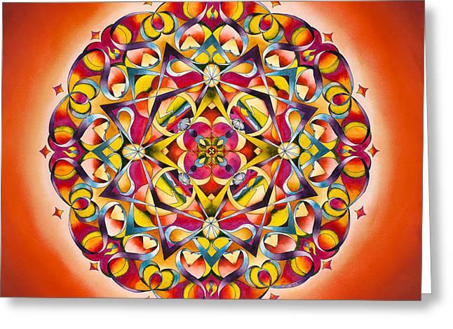Sacral Chakra Greeting Cards - Freedom - Sacral Chakra Mandala Greeting Card by Vikki Reed
