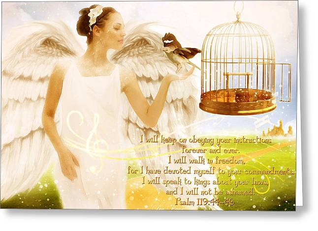 Illustrated Scripture Greeting Cards - Freedom Song with Scripture Greeting Card by Jennifer Page