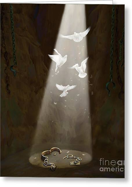 Biblical Art Greeting Cards - Freedom Greeting Card by Tamer and Cindy Elsharouni