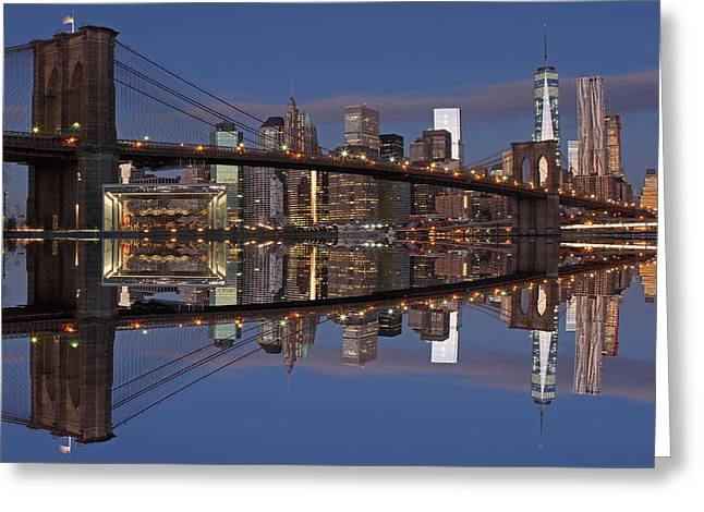 Gotham City Greeting Cards - Freedom Tower and Brooklyn Bridge Greeting Card by Juergen Roth
