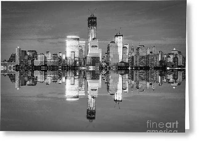 White River Scene Greeting Cards - Freedom tower black and white Greeting Card by Delphimages Photo Creations