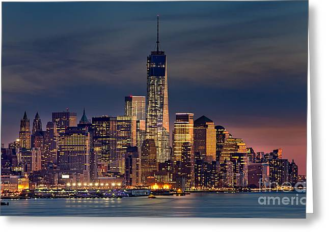 New Mind Digital Art Greeting Cards - Freedom Tower Construction End of 2013 Greeting Card by Jerry Fornarotto