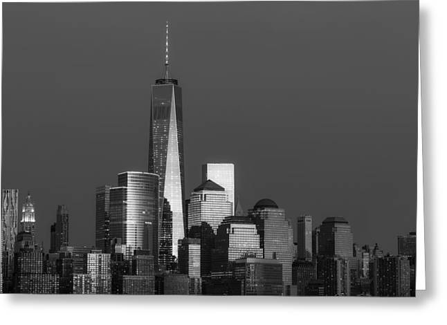 Empire State Photographs Greeting Cards - Freedom Tower Glow BW Greeting Card by Susan Candelario