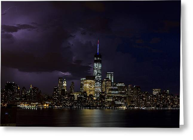 Brooklyn Promenade Greeting Cards - Freedom Tower Storm Greeting Card by D Plinth