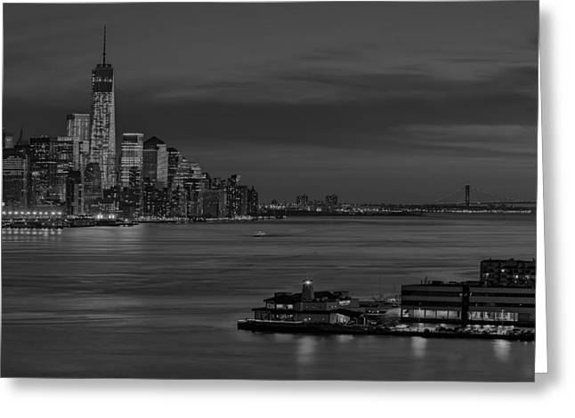 N.y. Greeting Cards - Freedom Tower Sunset BW Greeting Card by Susan Candelario