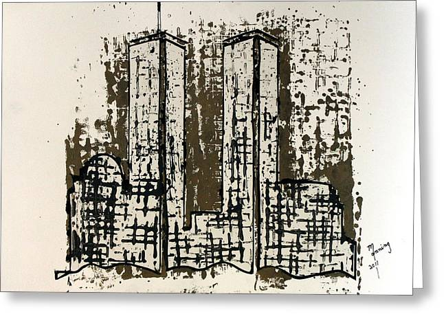 Wtc 11 Paintings Greeting Cards - Freedom Towers Greeting Card by Richard Sean Manning