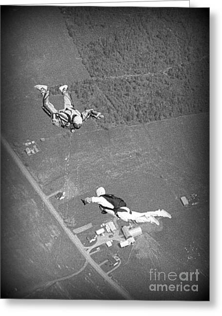 Halifax Photography Halifax Nova Scotia Greeting Cards - Freefalling Nova Scotia Skydivers in Stewiacke Greeting Card by John Malone