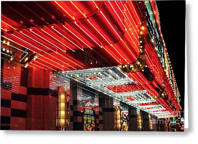 Freemont Street Greeting Cards - Freemont Neon Greeting Card by John Rizzuto