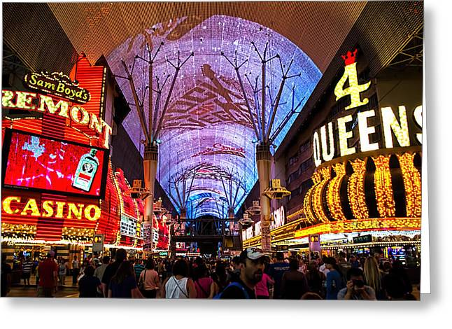 Freemont Street Greeting Cards - Freemont Street Experience - Downtown Las Vegas Greeting Card by Jon Berghoff