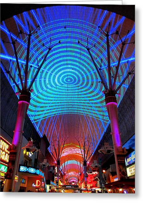 Fremont Street Greeting Cards - Freemont Street Experience One Greeting Card by Randall Weidner