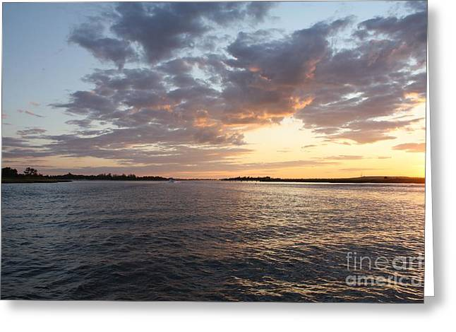 Reflections Of Sky In Water Greeting Cards - Freeport Cloudy Summertime Sunset Greeting Card by John Telfer