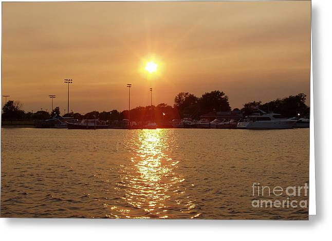 Sunset Greeting Cards Greeting Cards - Freeport Summer Sunset Greeting Card by John Telfer
