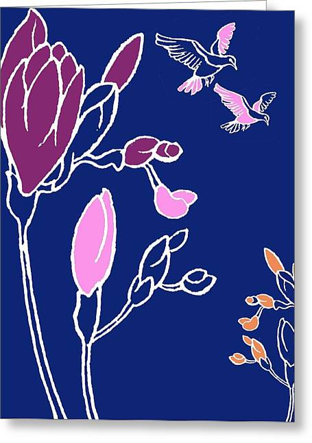 Decorative Greeting Cards - Freesia Greeting Card by Anna Platts
