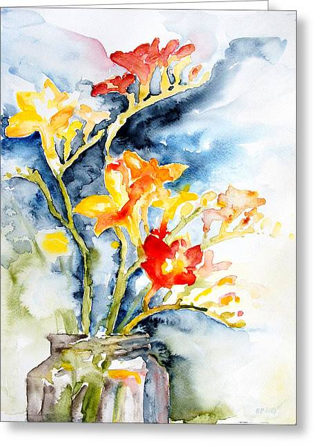 Fruehling Greeting Cards - Freesia In A Pickle Jar Greeting Card by Barbara Pommerenke