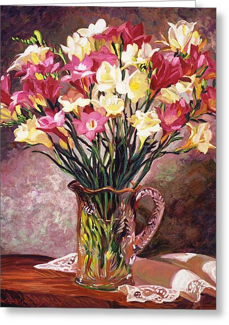 Pitcher Paintings Greeting Cards - Freesias In Crystal Pitcher Greeting Card by David Lloyd Glover