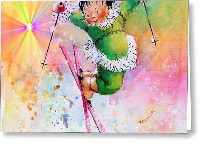 Ski Art Greeting Cards - Freestyle Smiles Greeting Card by Hanne Lore Koehler