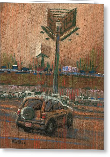 Car Pastels Greeting Cards - Freeway Advertising Greeting Card by Donald Maier