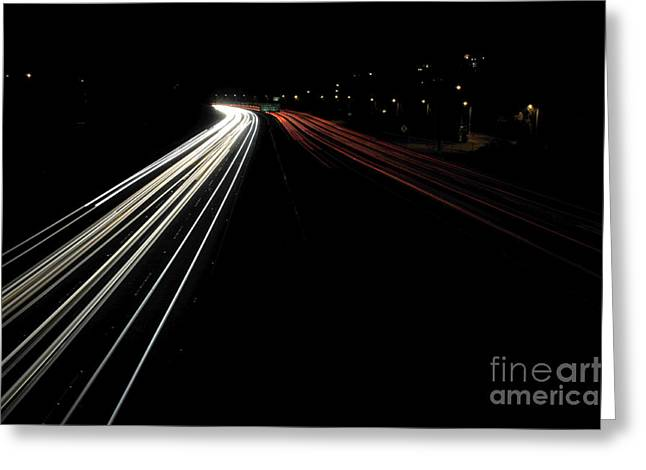 Los Angeles Freeways Greeting Cards - Freeway at night 1 Greeting Card by Micah May