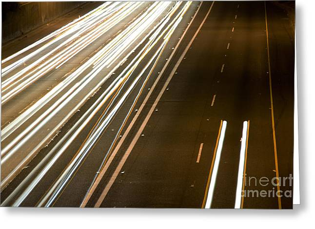 Los Angeles Freeways Greeting Cards - Freeway at night 10 Greeting Card by Micah May