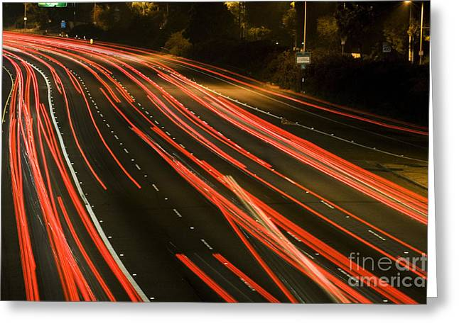 Los Angeles Freeways Greeting Cards - Freeway at night 11 Greeting Card by Micah May