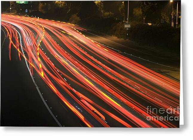 Los Angeles Freeways Greeting Cards - Freeway at night 12 Greeting Card by Micah May