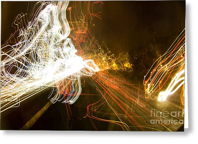 Los Angeles Freeways Greeting Cards - Freeway at night 14 Greeting Card by Micah May