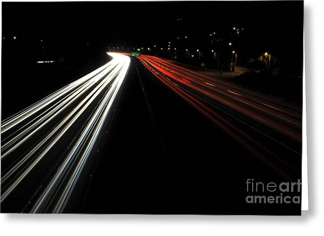 Los Angeles Freeways Greeting Cards - Freeway at night 2 Greeting Card by Micah May