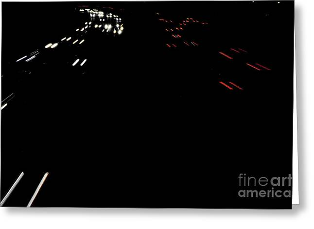 Los Angeles Freeways Greeting Cards - Freeway at night 3 Greeting Card by Micah May