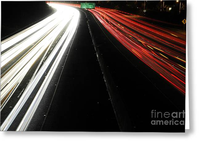 Los Angeles Freeways Greeting Cards - Freeway at night 4 Greeting Card by Micah May