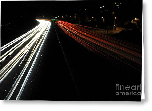 Los Angeles Freeways Greeting Cards - Freeway at night 5 Greeting Card by Micah May