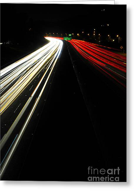 Los Angeles Freeways Greeting Cards - Freeway at night 6 Greeting Card by Micah May