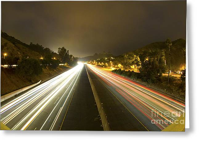 Los Angeles Freeways Greeting Cards - Freeway at night 8 Greeting Card by Micah May