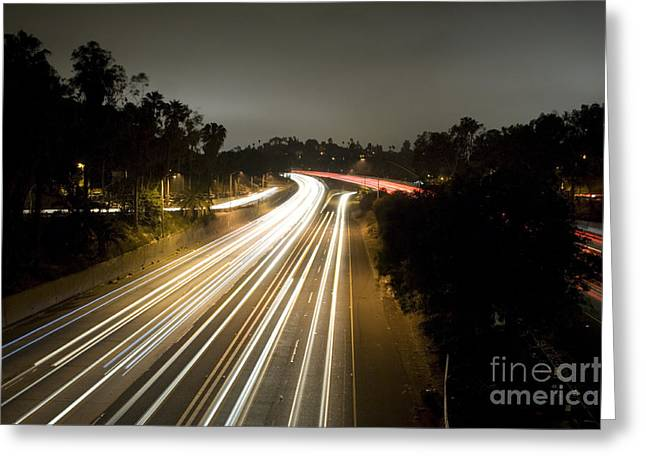 Los Angeles Freeways Greeting Cards - Freeway at night 9 Greeting Card by Micah May