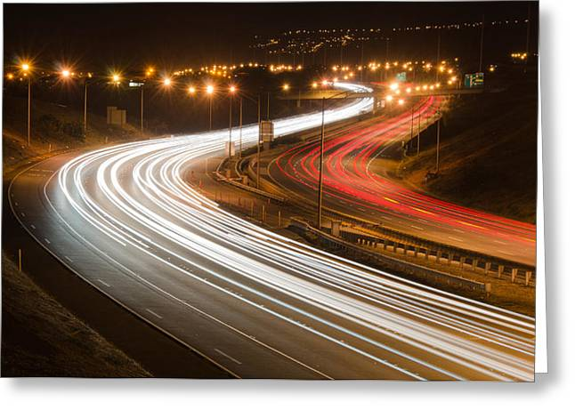 Lahaina Greeting Cards - Freeway at night Greeting Card by Tin Lung Chao